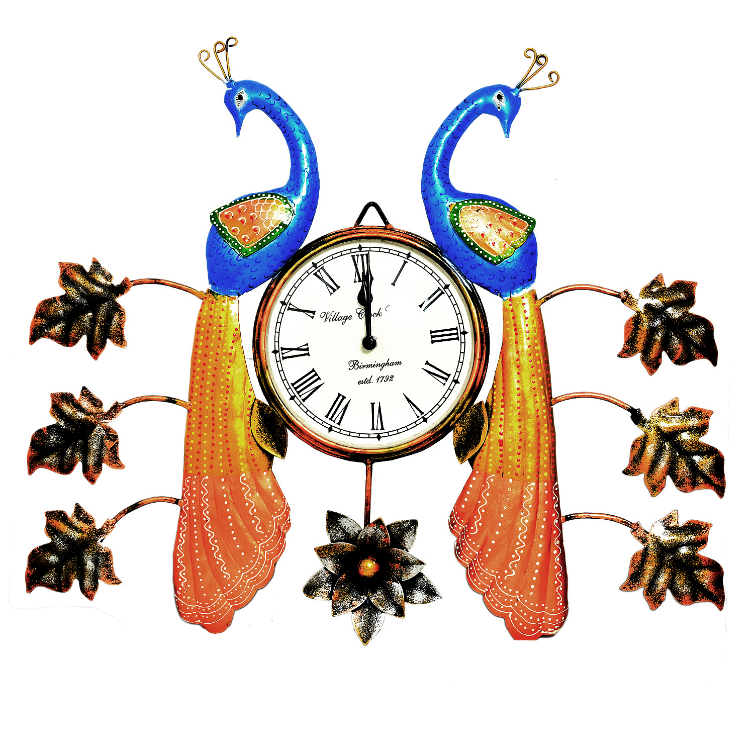 Decorative Wall Clock/Living Room of Two Peacock Wall Clock with Leaf