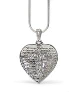 "17"" Snake Chain Silver Heart Cross Crystal Spanish Prayer Necklace - $19.50"