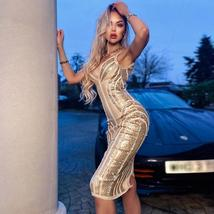 New Runway Arrival Sexy Silver Sequin Sexy Bodycon Summer Party Dress image 4