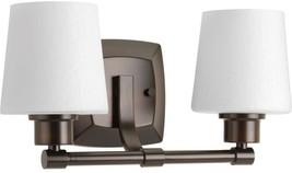 Bathroom Vanity Lighting 2-100 Watt Bulbs Damp Rated Etched Glass Bronze... - $112.73