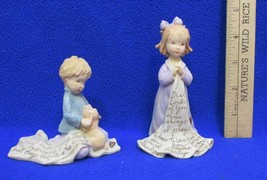 Foundations Figurines Girl w/ Blanket & Boy w/ Puppy Prayer Lot 2 K Hahn... - $9.89