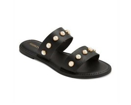 New Women's Merona Margo Man Made Vegan Black Pearl Slide Summer Sandals NWT