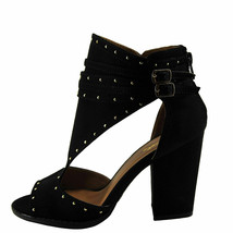 Qupid Lost 07 Black Women's Peep Toe Cutout Studded Ankle Booties - $30.95