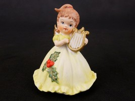 Brunette Angel Figurine Playing Harp, Yellow Holly Leaf Dress, Bisque Po... - $14.65