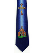 Holy Church Men's Necktie Christian Gift Religious Jesus Cross Blue Neck... - $15.79