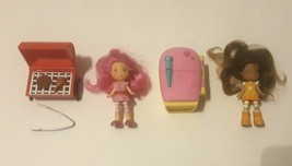 """2 Strawberry Shortcake Dolls 2008-  3"""" tall with 2 pieces of Furniture - $14.50"""