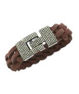 Handmade Pave Diamond and Brown Leather Bracelet 925 Sterling Silver Siz... - $1,089.00