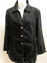 J Jill Jacket Black Denim Tencel Cotton Stretch Blazer - $21.53