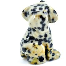 Dalmatian Dacite Gemstone Tiny Miniature Spotted Dog Figurine Hand Carved China image 4