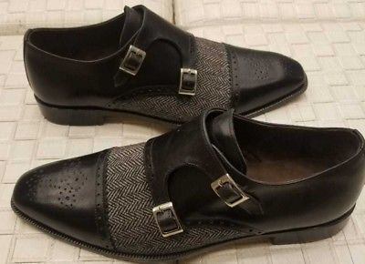 Handmade Men's Black Leather And Tweed Two Tone Brogues Double Monk Shoes