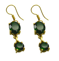 Green Gold Plated Glass cute Emerald CZ casually Earring AU gift - $8.33