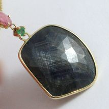 9K YELLOW GOLD NECKLACE AND PENDANT, ROUND BLUE AND OVAL PINK SAPPHIRE, PERIDOT image 4