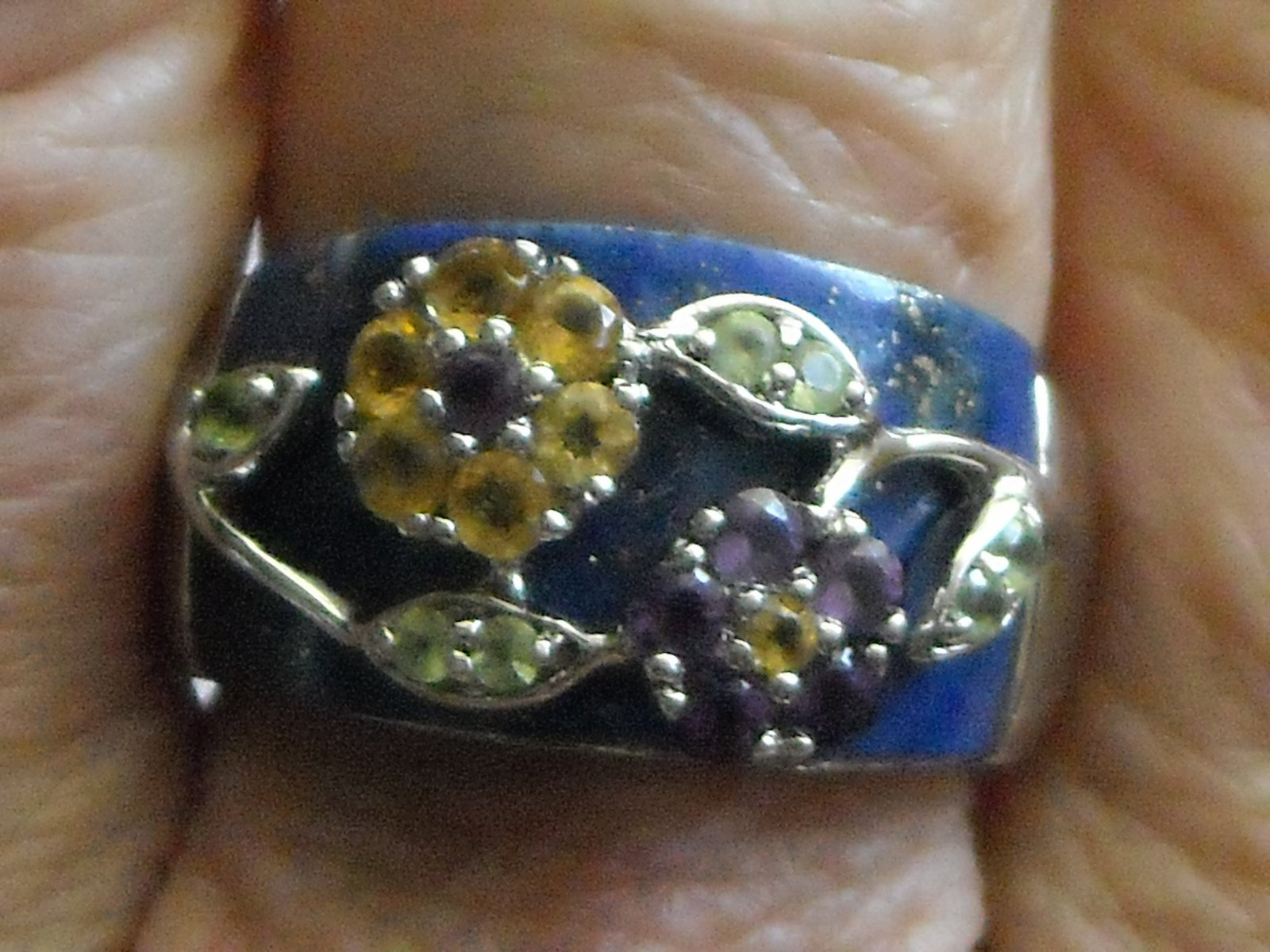 Vintage Sterling Ring Inlaid Laips Lazuli & Gemstones Set In Sterling Flowers 9