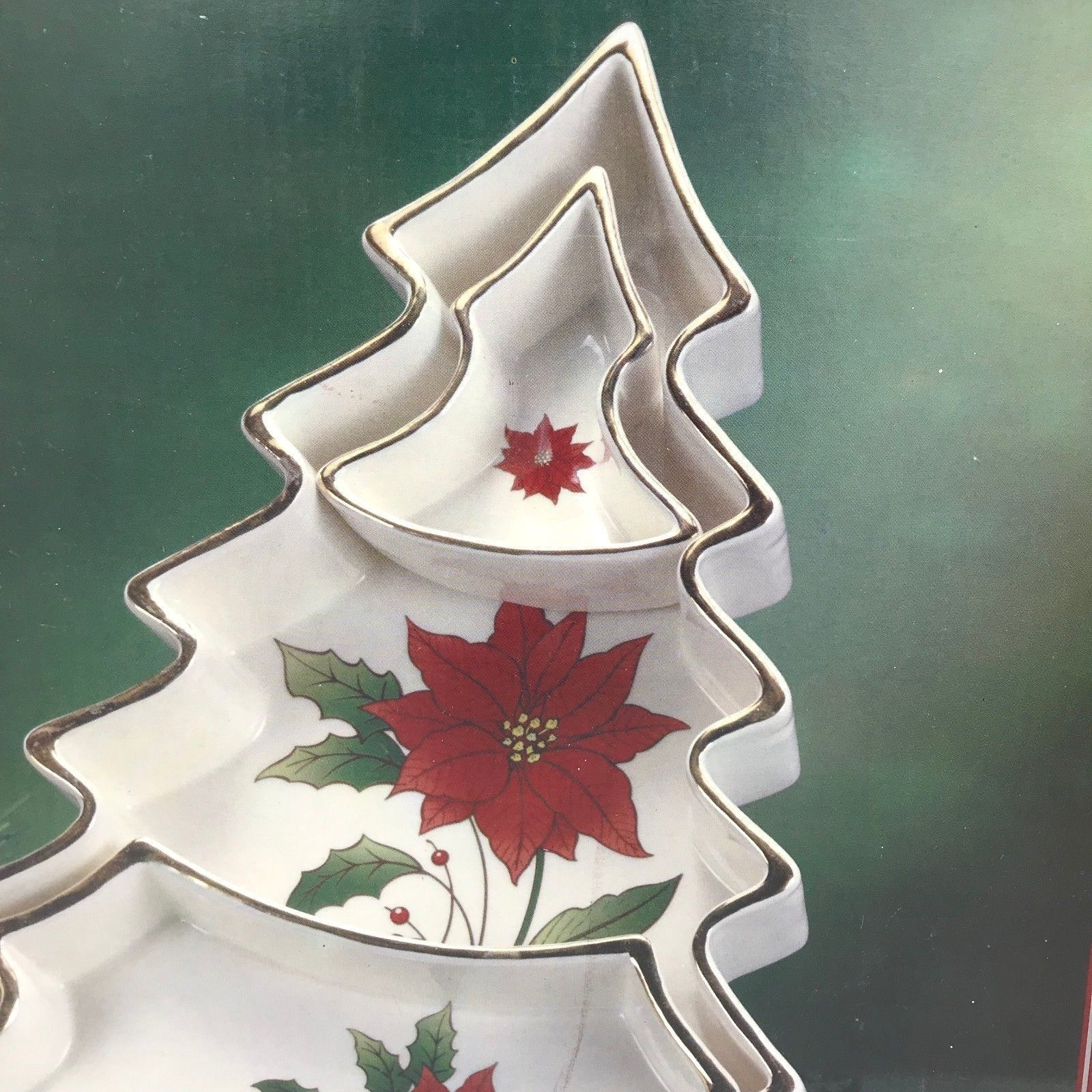 Royal Limited Holly Holiday Christmas Tree Sectioned Serving Tray RARE NIB XM