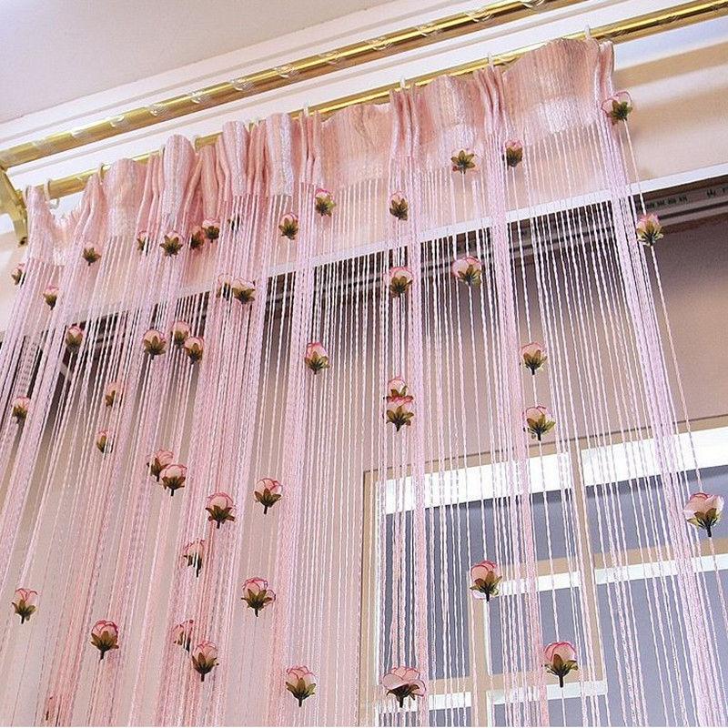 100cm-200cm-DIY-Rose-Curtain-Romantic-Rose-Floral-String-Flower-Design-Tassel-Cu