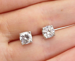 925 Sterling Silver - Vintage Sparkling Cubic Zirconia Stud Earrings - E... - $23.29