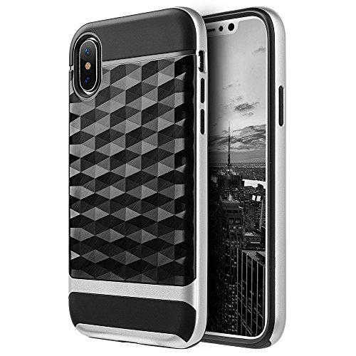 Hybrid Diamond Wave TPU Case with Frame - Black/ Silver for iPhone X