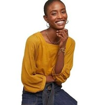Anthropologie AKEMI + KIN Decker Yellow Square Neck Shirt Flowy Sleeves ... - $41.54