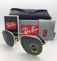 New RAN-BAN Sunglasses HEXAGONAL RB 3548-N 001 48-21 140 Gold Frame w/ G15 Green image 3