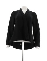 H Halston Long Slv Open Front Jacket Seam Black 6 NEW A303200 - $39.58