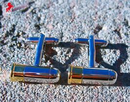 Bullet Cufflinks, Silver and Gold Color – Wedding Party, Graduation, Dad's Gift - $3.95