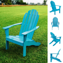 Mainstays Wooden Outdoor Adirondack Chair Solid Hardwood Turquoise Finis... - £73.74 GBP