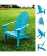 Mainstays Wooden Outdoor Adirondack Chair Solid Hardwood Turquoise Finis... - £73.07 GBP