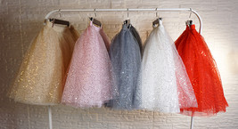 Women Mini Tutu Tulle Skirt A-line Layered Puffy Tutu Outfit Red White Pink Gray image 12