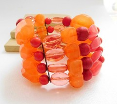 Retro Pink Orange Red Layered Bead Wide Stretch Boho Bangle Bracelet Q30 - $14.44