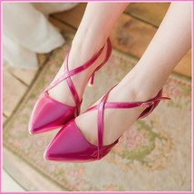 Low Spike Stilletto High Heels Criss Cross Strap Fire Pink PU Leather Sandals  image 4