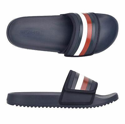 Men's Tommy Hilfiger Designer Hook and Loop Strap Slippers Rexer Slide Sandals