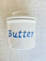 Butter Keeper Stoneware Crock French Bell White Blue Kitchen Dish Storag... - $34.65