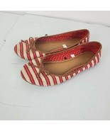 Merona Womens French Style Red Ivory Stripe Ballet Flats Fabric Shoes Si... - $9.88