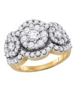 14kt Yellow Gold Round Diamond Cluster Bridal Wedding Engagement Ring 2.... - £1,884.54 GBP