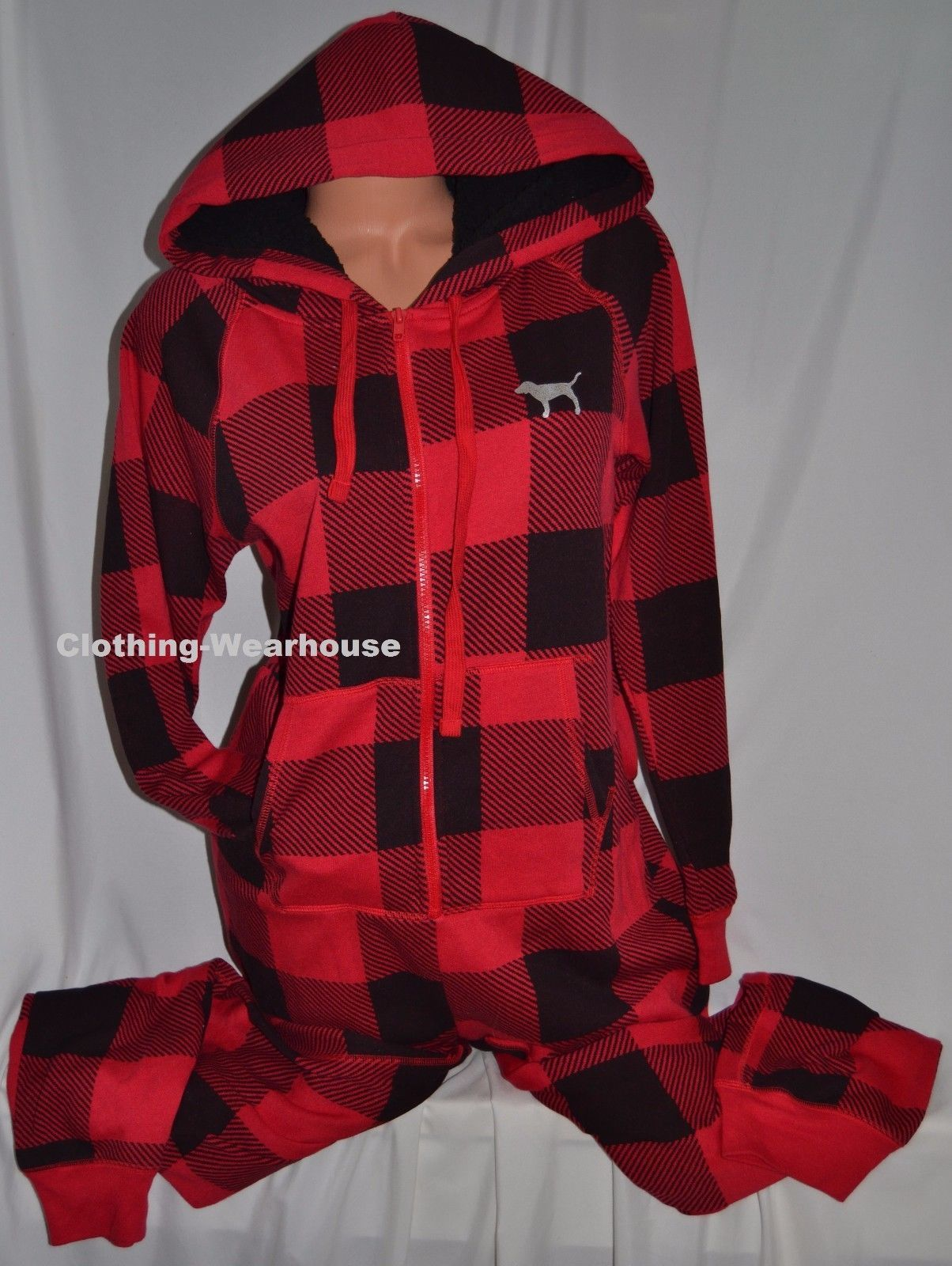 49103635a5 57. 57. Previous. Victoria s Secret PINK Red Black Plaid Sherpa Hooded Long  Jane Pajama Suit S. Victoria s ...
