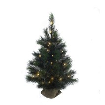 KURT ADLER 3' PRE-LIT FROSTED CHRISTMAS TREE w/ BURLAP COVERED BASE - $58.88