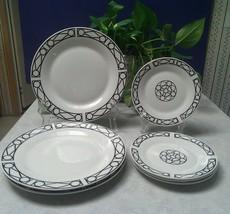 (7) Piece Set Oneida Porcelain FACADE Dinnerware ~ 3) Dinner & 4) Salad Plates - $4.94