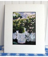 Watercolor Print Barbara Fox Picket Fence Rose Arbor Matted 1992 Victori... - $28.00