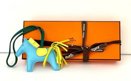 Hermes Rodeo Bag Charm PM Pony Horse Blue Yellow Green - $423.23
