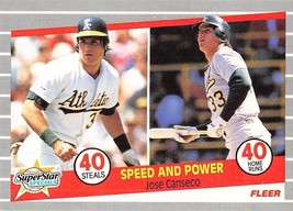 1989 Fleer #628 Speed & Power 40 Steals & 40 Home Runs > Jose Canseco > Oa - $0.99