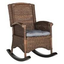 Outdoor Rocking Chair for Backyard Patio Garden Porch Wicker Seat Brown ... - $221.39