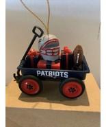NFL Wagon Ornament W/Football & Helmet Wagon W Presents  New England Pa... - $14.54