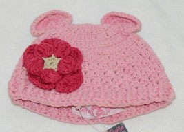 Ruffle Butts Pink Ear Hat With Flower Cotton 6 To 12 Months image 1