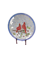 """Vintage Hand Made Large Mosaic Tile Dish On Stand 16.5"""" Diameter Birds C... - $89.10"""