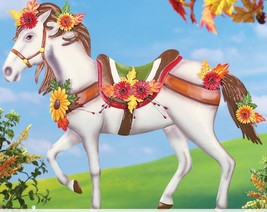 Fall Yard Decorations Metal Decorated Horse Garden Stake Autumn Flowers ... - $38.60