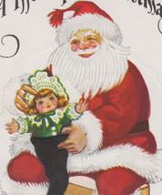 Vintage Santa Putting Doll in Stocking Christmas Postcard - $10.95
