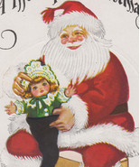 Vintage Santa Putting Doll in Stocking Christmas Postcard - $10.95