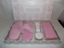 Nicole Miller Spa Gift Set Slippers Foot Scrub Body Lotion Hair Turban Pink - $25.74