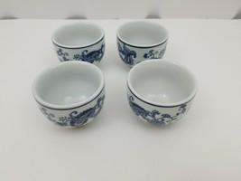 Pier 1 Imports Porcelain Tea Cups Sake Set of 4 White Blue Floral Dish Safe image 2