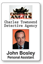 JOHN BOSLEY CHARLIE'S ANGELS NAME BADGE TAG HALLOWEEN COSPLAY MAGNET BACK - $14.84